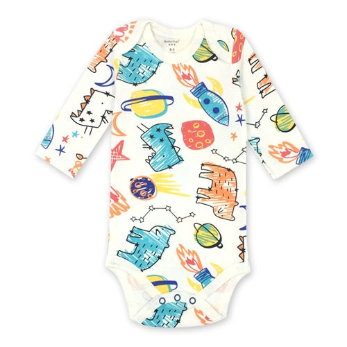 Newborn Bodysuit Babies Baby Boys Girls Clothes Lovely Cartoon Print 100%cotton Long Sleeve Infant Bodysuits-eosegal