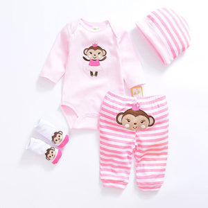 Baby clothing set 2018 Newborn baby boy girl clothes 100% cotton Character long sleeve infant clothes shirt+socks+pants+bib-eosegal