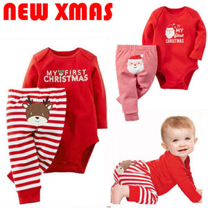 2018 Emmababy Xmas Newborn Baby Boys Girls Letter Christmas Romper Stripe Long Pants Clothes Outfits Set t-eosegal