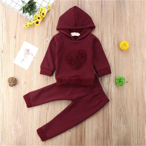 2Pcs Newborn Toddler Baby Boys Girl Red Heart Sunsuit Set Kids Girls Cotton Hooded Sweatshirt Tops Long Pants Outfit Set Clothes-eosegal