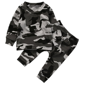 2018 Multitrust Brand 2pcs new baby clothing set Toddler Infant Camouflage Baby Boy Girl Clothes T-shirt Tops+Pants Outfit Set-eosegal