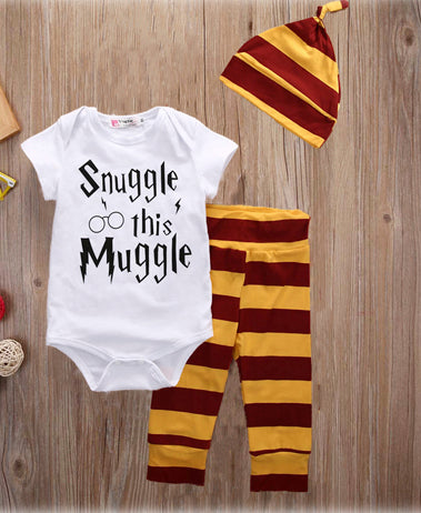 3PCS Newborn baby Clothes Set Letter Snuggle This Muggle 3PCS Bodysuit+Stripe Pants+Hat Outfits Fashion Baby Boys Girls Clothing-eosegal
