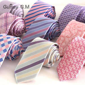 High Quality New Pink Style Plaid Ties for men Fashion Classic Manseosegal-eosegal