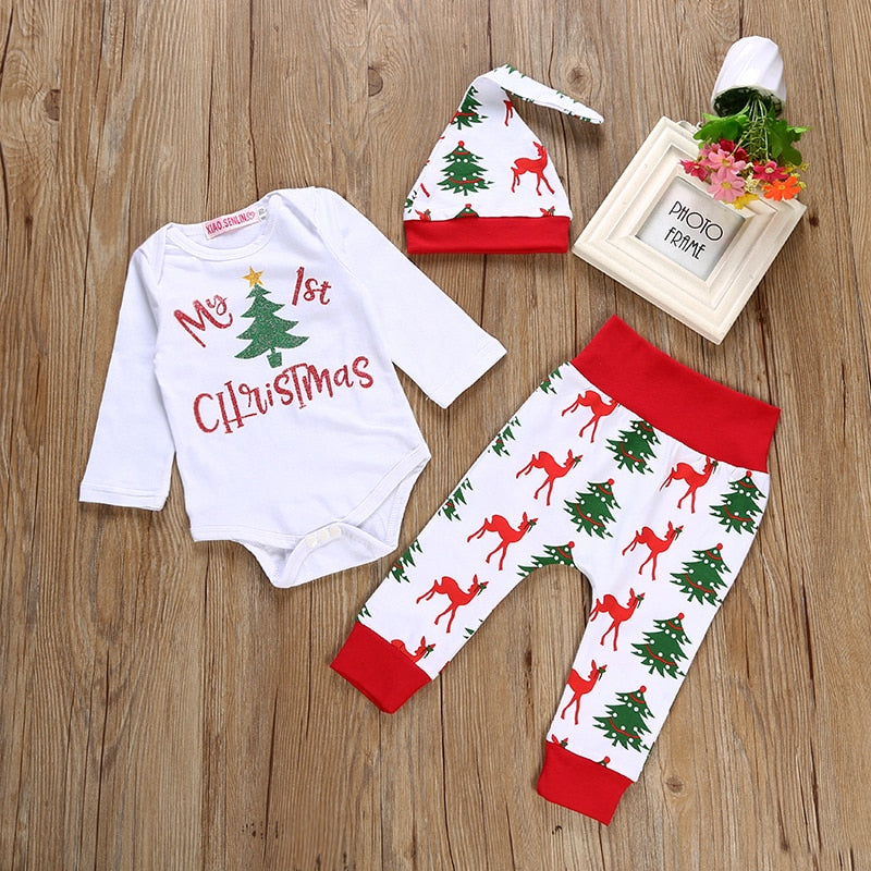 2018 Christmas Newborn Baby Boys Girls Clothes Sets My 1st Christmas Romper+Deer Pants +Hat Set 3 Pcs sets Baby girls clothing-eosegal