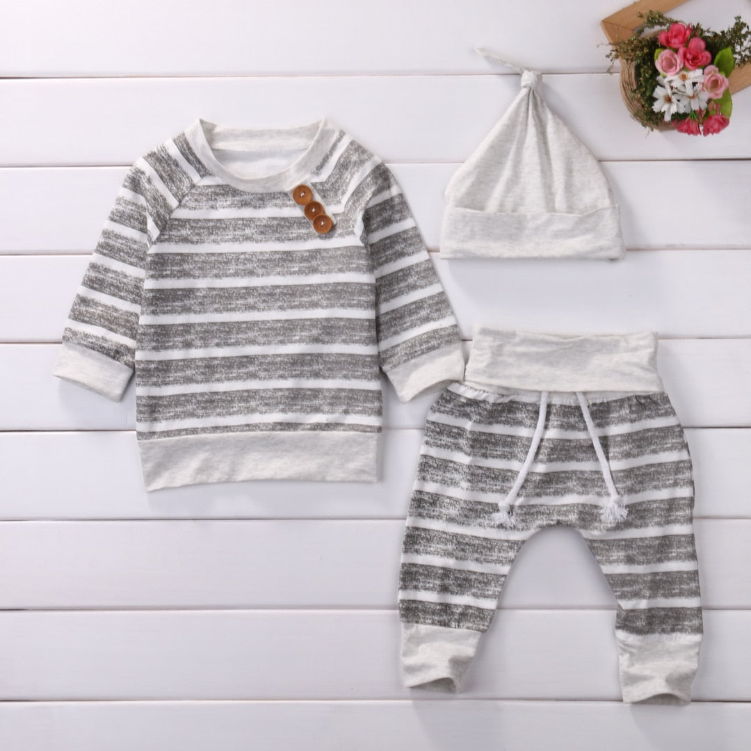 3Pcs/Set ! Baby Clothing Sets 2018 Autumn Baby Boys Clothes Infant Baby Striped Tops T-shirt+Pants Leggings 2pcs Outfits Set-eosegal