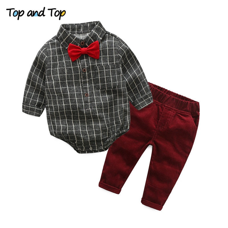 {TOP and TOP} Baby Boy Clothes Newborn Clothing Sets Broad Cloth Baby Brand Gentleman Fashion Plaid T-shirt + Jeans 2Pcs/set-eosegal