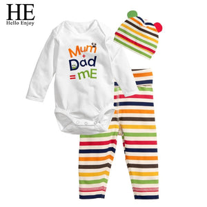 HE Hello Enjoy Baby rompers long sleeve cotton baby infant autumn Animal newborn baby clothes romper+hat+pants 3pcs clothing set-eosegal