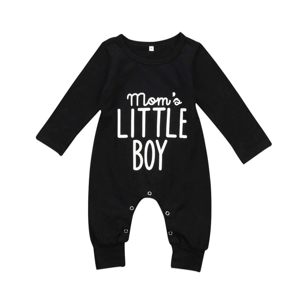 Newborn Infant Baby Boy Long Sleeve Cotton Rompers Jumpsuit Casual Warm Autumn Winter Cute Outfit Clothes Black 0-24M-eosegal