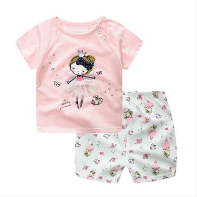 Summer Baby Boy Girl Clothes Set t-shirt+short Pant 2 pcs Set Newborn Clothes Set Cartoon Cotton Baby Suit (Shirt+Pants) 6-18M-eosegal