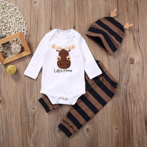 2018 Baby Boy Clothing Sets Xmas Little moose Newborn Baby Boy Girls Clothes Long Sleeve Romper Jumpsuit Long Pants +hat Outfits-eosegal
