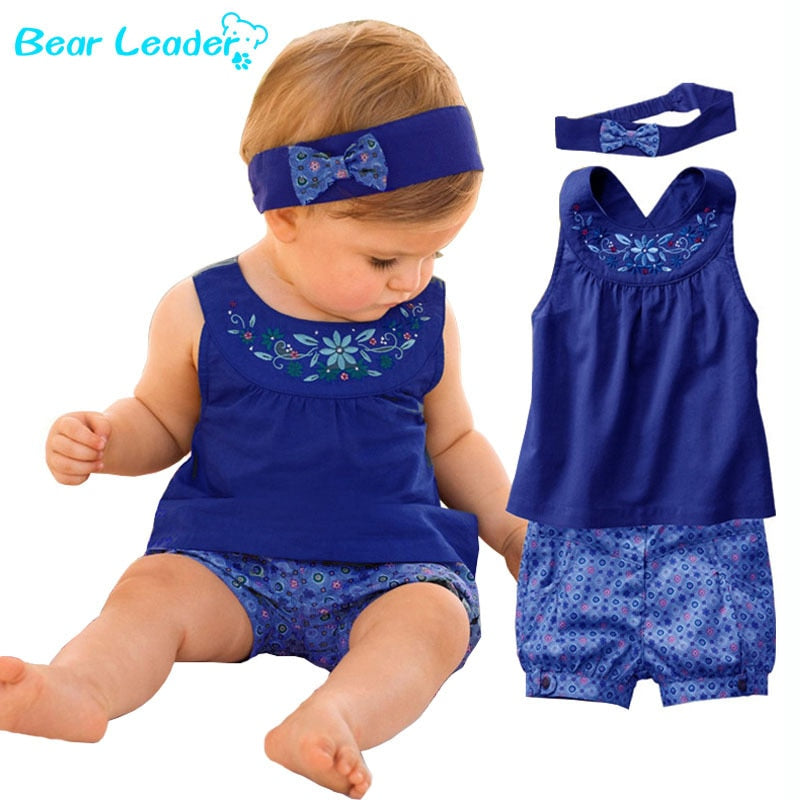 Bear Leader 2018 New Fashion Baby Vestidos Suits Baby Kerchief+ Sleeveless Dress+ Gingham Plaid Pant Baby Clothing For 6-24M-eosegal