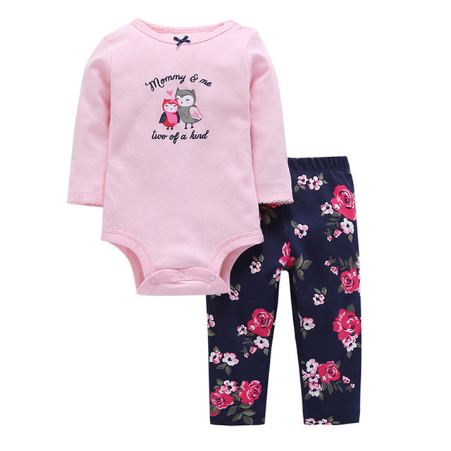 2 pieces outfit set newborn clothes Spring autumn 2018 cute Bebes Boys Girls Bodysuit Pant Baby Rompers letter Clothing set-eosegal