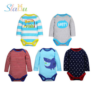 Newborn Baby Bodysuit Cotton Baby Girl Clothes Long Sleeve Infant Boy Pajamas Clothes for 0-24 Month Children Random Colors-eosegal