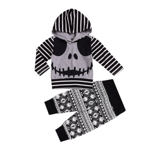 2018 Brand New Autumn Newborn Baby Boy Girl Halloween Outfits Skull Striped Long Sleeve Hooded Print Pants 2Pcs Casual Set 0-24M-eosegal