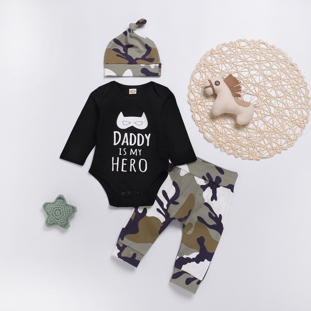 MUQGEW Fashion baby clothes set 3PCs Baby Boy Clothes Letter Cartoon Romper Tops+Camo Pants newborn clothes baby set roupa infan-eosegal