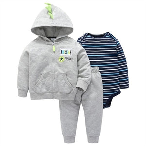 Clothing Set for Boy and Girl 3 pcs carter bebes Long Sleeve Bodysuit+Coat+Long Pants for winter Baby Set for 6m to 24m-eosegal