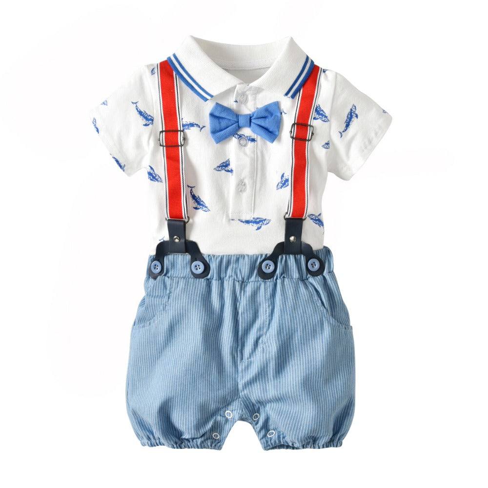 Summer Baby clothes Baby boy's clothing sets infant clothes baby 3pcs Suit Boys cotton bodysuits+Suspender shorts +bow tie-eosegal