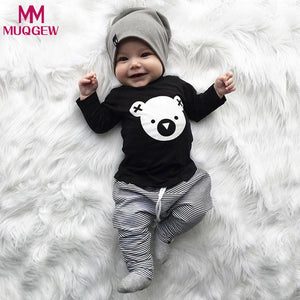 MUQGEW baby kid girls boys clothes set suit autumn Cartoon Koala T-Shirt Tops Striped Pants Outfits Set Toddler Long sleeve-eosegal