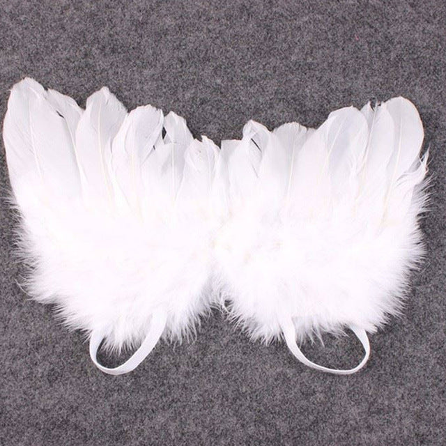 Kids Cute Angel Wing Newborn Photography Props Soft Baby Girls Boys Feather Clothes Skirt Set Baby Hat Infant Outfit Fotografia-eosegal