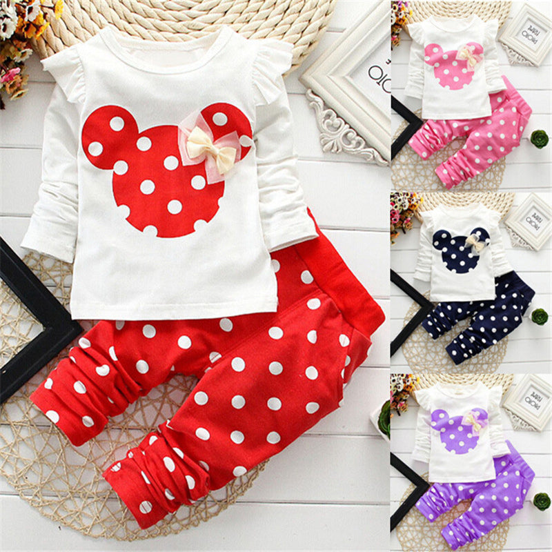 Fashion 2018 Baby Set Dot Cotton Baby Girl Clothes Kids Clothing Set Girl (Pants+T-shirt) Christmas For Baby Suit Mutli-Colors-eosegal