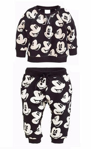 New infant Girls Boys Clothing Sets Mickey sweater+pants 2pcs/set Casual Newborn Baby Boys Clothes Set Sweatshirt Sport Suit-eosegal