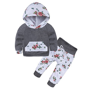 Red Color Baby Girls Clothes Newborn Infant Bebek Hooded Sweatshirt Tops+Pants 2pcs Outfits Tracksuit Kids Clothing Set DBC088-eosegal