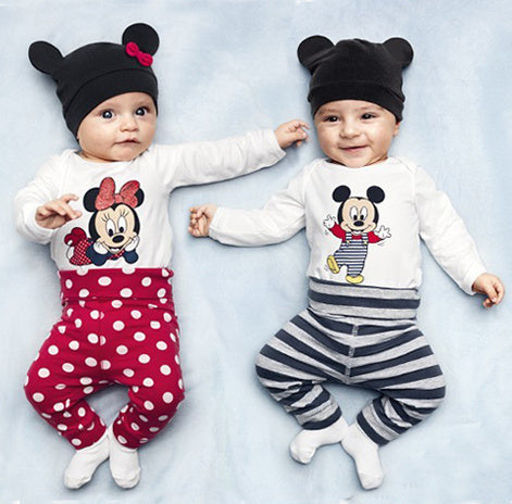 Loveable unisex baby suit/3-piece set: baby bodysuit+long pants+cute hat/2016 New arrived baby clothes-eosegal