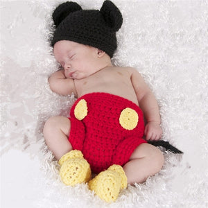3Pcs/set Baby Mickey Three-piece Suit Newborn Baby Girls Boys Crochet Knit Costume Photography Prop Outfits-eosegal