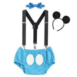 Baby Boys First Birthday Suspender Pants Cloths Mickey Mouse Cake Smash Outfits