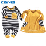 2018 Brand New Infant Toddler Newborn Kids Baby Boy Girl Matching Clothes Jumpsuit Bodysuit Dress Long Sleeve Outfit Striped Set-eosegal