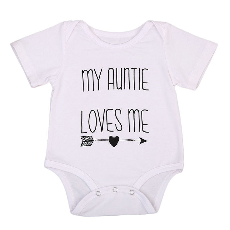 2018 Limited Sale Twins Baby Body Casual Me Love Outfits Jumpsuit Boy Clothes Sleeve Cotton Bodysuit Girls My Auntie Baby Short-eosegal
