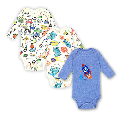 3 Pack Newborn Bodysuit Baby Boy Long sleeves 100%cotton Cartoon print Babies Bebes Infant Clothes 0-24 Months-eosegal