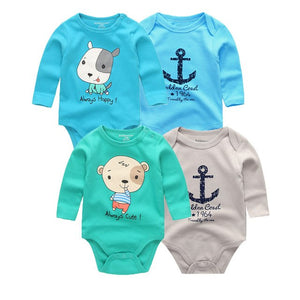 4 PCS/lot Newborn Clothing Long Sleeve Baby Bodysuit 100% Cotton Baby Jumpsuit Baby Boy Playsuits Girl Clothes for Summer Sport-eosegal