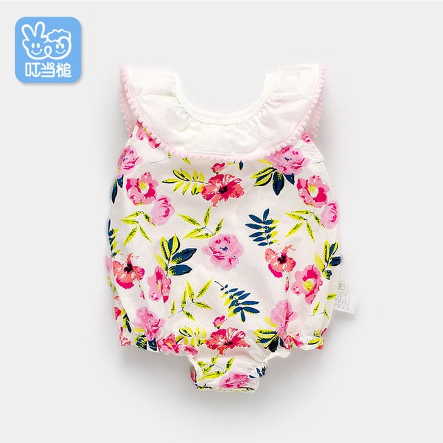 Dinstry 2018 New Summer Baby jumpsuit 0-1 Newborn Sailboat pattern Romper-eosegal
