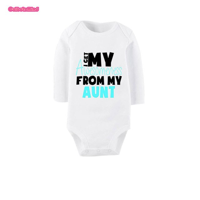 Culbutomind I Get Awesome From My Aunt Cute White Long Sleeve Organic Cotton Baby Unisex Body Suit Jumpsuit One-piece Outfit-eosegal