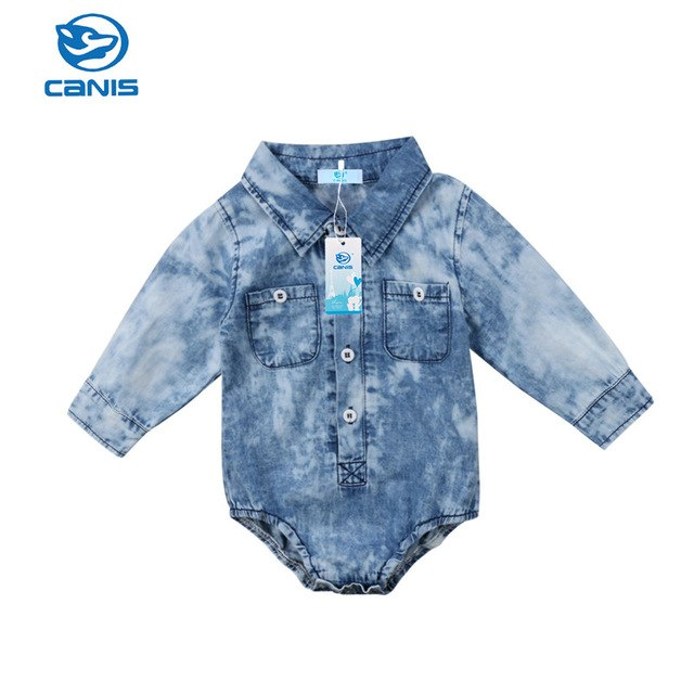 Newborn Infant Baby Boys Denim Jeans Long Sleeve One Piece Bodysuit Kids Boy Girls Jumpsuit Playsuit Autumn Spring Clothes-eosegal