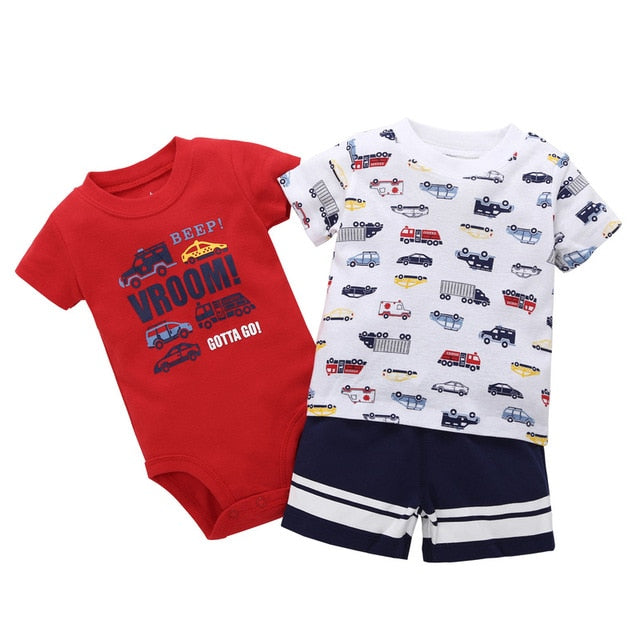 FREE SHIPPING New Bebes Baby Summer Clothing Set Boy Short SleeveBodysuit+T-Shirt +Shorts for 6 Months to 24 Months-eosegal