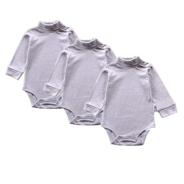 3pcs/sets Good Quality Baby Girls Boys Long Sleeves 100% Cotton Solid lapel Bodysuit, Infant Jumpsuit 9m to 24M-eosegal