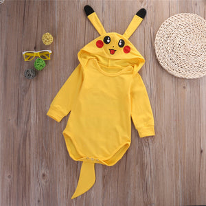 Cartoon Pikachu Baby Bodysuit Long Sleeve Hooded One Piece Playsuit Lovely Cosplay Jumpsuit For Baby Outwear-eosegal