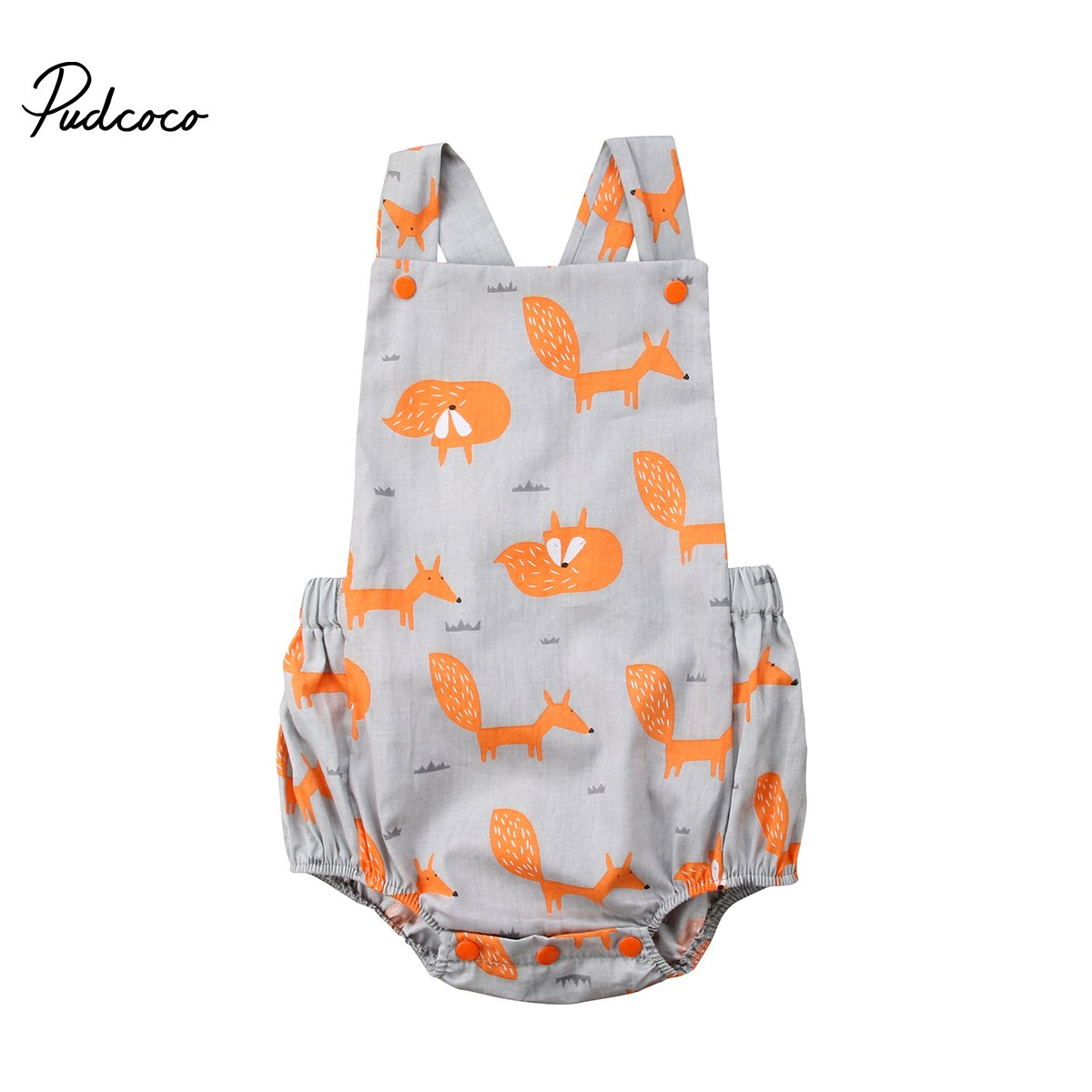 Pudcoco Newborn Baby Boy Girl Infant Fox Cotton Sleeveless Bodysuit Outfits 0-18 Months Helen115-eosegal
