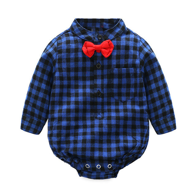 Tem Doger Infant Newborn kids Baby Boy Clothes Red Plaid Shirt Style Romper Long Sleeve Rompers-eosegal