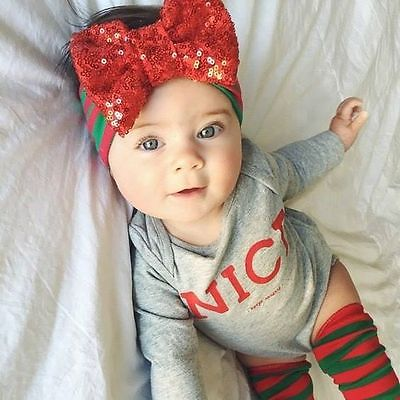 Xmas 4PCS Newborn Toddler Baby Girls long sleeve Jumpsuit Bodysuit +striped knee+headband Clothes Outfit casual baby Set-eosegal