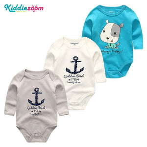 3Pcs/sets TopsBaby Girls Boy Bodysuits Roupa de bebe Newborn Boy Clothing Infantil baby 3-12M Cotton Long Sheeve Baby Pajamas-eosegal