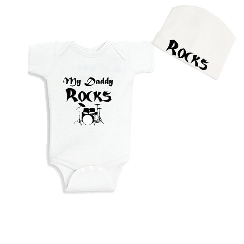 Culbutomind 2018 Baby Bodysuit Short Sleeve My Daddy Rock with Rock Beanie Baby T shirt Kids 2018 for Party for Boys Girls-eosegal