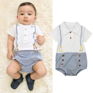 Gentleman Baby Boys Clothes White Newborn Wedding Clothes Baby Rompers Short Sleeve Overalls Baby Body Jumpsuit-eosegal