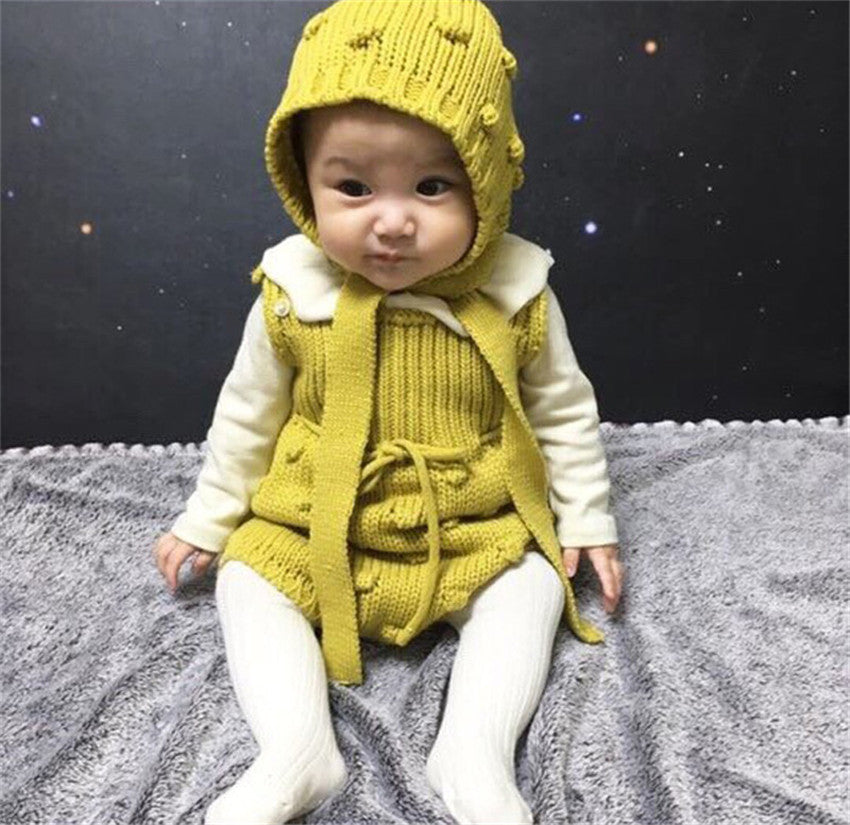 winter Baby Boy Girl Costume Hand knitting Sweater Rompers autumn cotton romper Playsuit Clothes Toddler girl bow-knot clothes-eosegal
