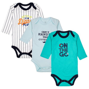 3 pcs/lot Baby Clothing Newborn Baby Bodysuits Long Sleeved Child Garment 100% Cotton Baby Boy Clothes-eosegal