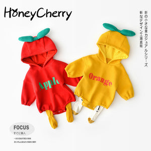 Children's Bodysuits Winter Clothing, Baby Boy Cartoon Fruit Alphabet Triangle Climbing Suit Baby Girl Clothes Baby Bodysuits-eosegal
