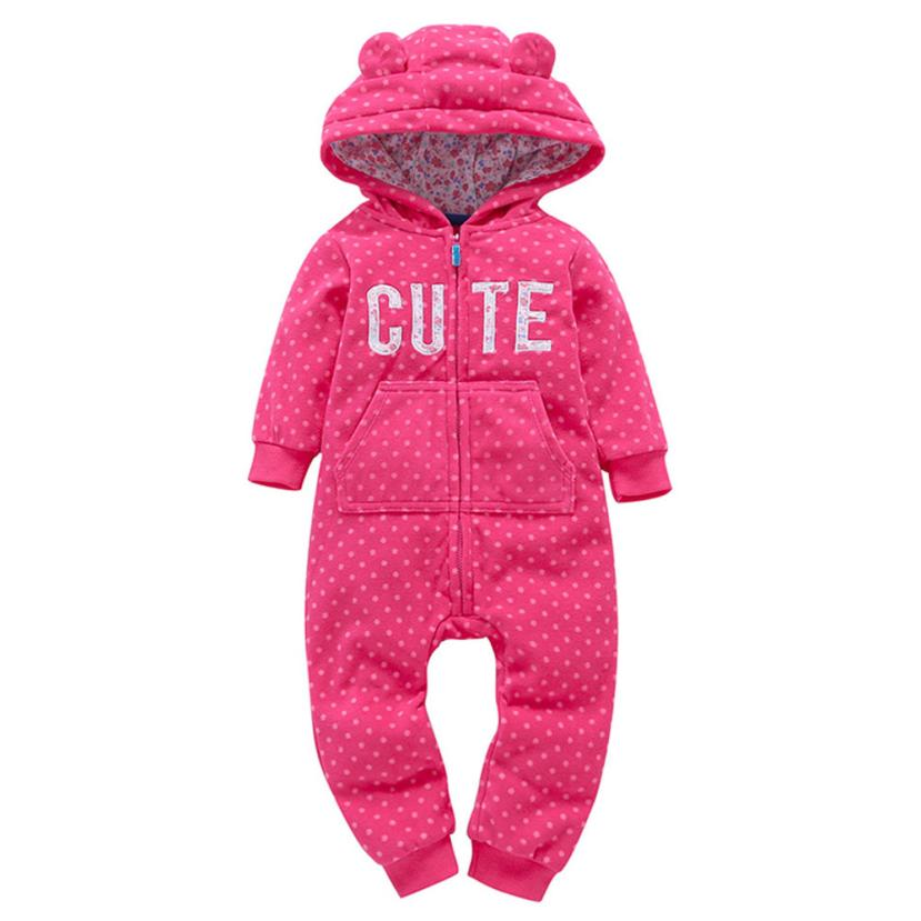 Infant Baby Boys Girls Thicker Hot Pink Letter Hooded Romper Fleece Jumpsuit Outfit Kid Clothes Aug 22-eosegal