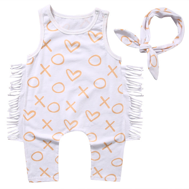 New Casual Newborn Infant Baby Girls Kids Clothes Sleeveless Romper Jumpsuit Headband Cotton Outfits Clothes-eosegal